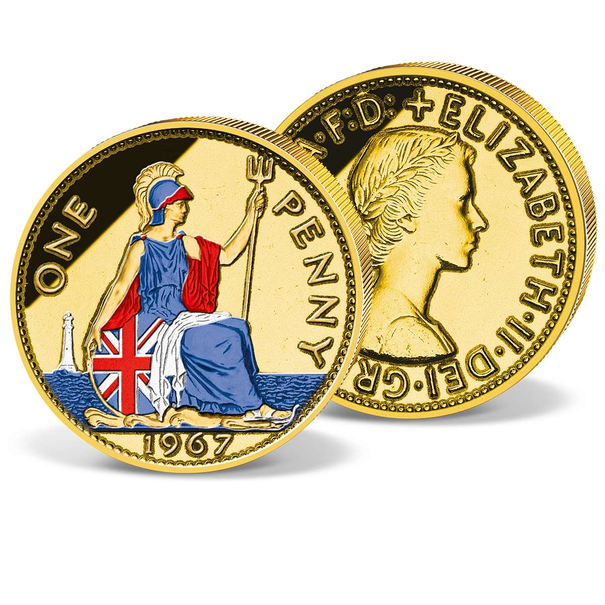 1 Penny 1954 to 1967 gold-plated and coloured