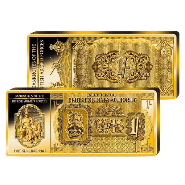 'One Shilling 1943' Commemorative Golden Bar UK_9039203_1