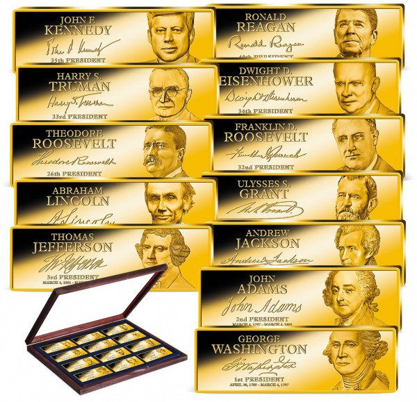 'Greatest American Presidents' Golden Ingot Set UK_9171278_1