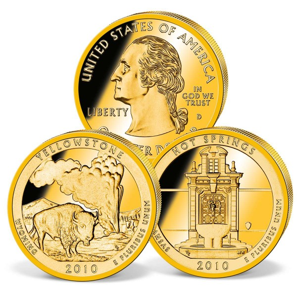 US Quarter Dollar Coin Set 'Hot Springs and Yellowstone' UK_2540059_1