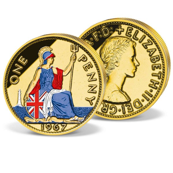 1 Penny 1954 to 1967   gold-plated and coloured UK_2612411_1