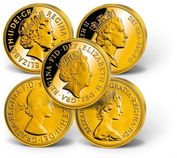 'Queen Elizabeth II' Gold Sovereigns 5-Coin Set