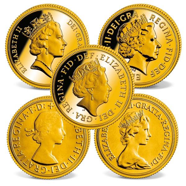 Set of 5 Gold Sovereigns 'Queen Elizabeth II' UK_2460168_1