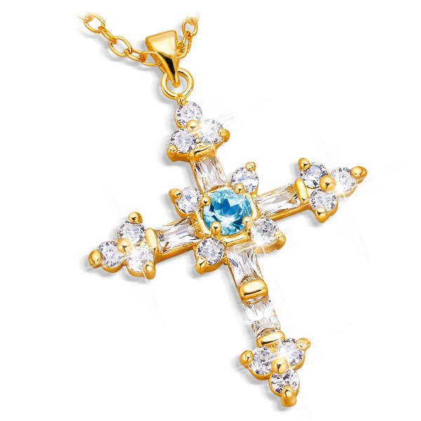 Cross Pendant 'Blue Topaz' UK_3006131_1