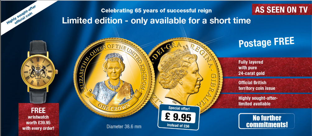 Queen Elizabeth II 1 Crown commemorative coin - finished with platinum